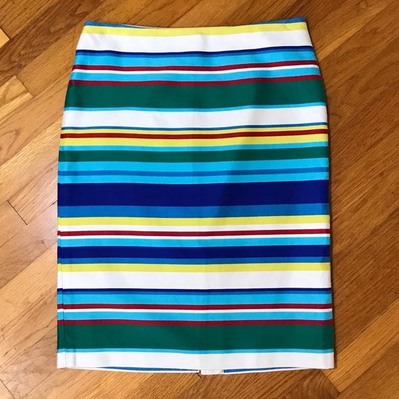 4b8d4a7e55 Talbots Skirts | Rainbow Striped Cotton Pencil Skirt Sz 8 | Poshmark